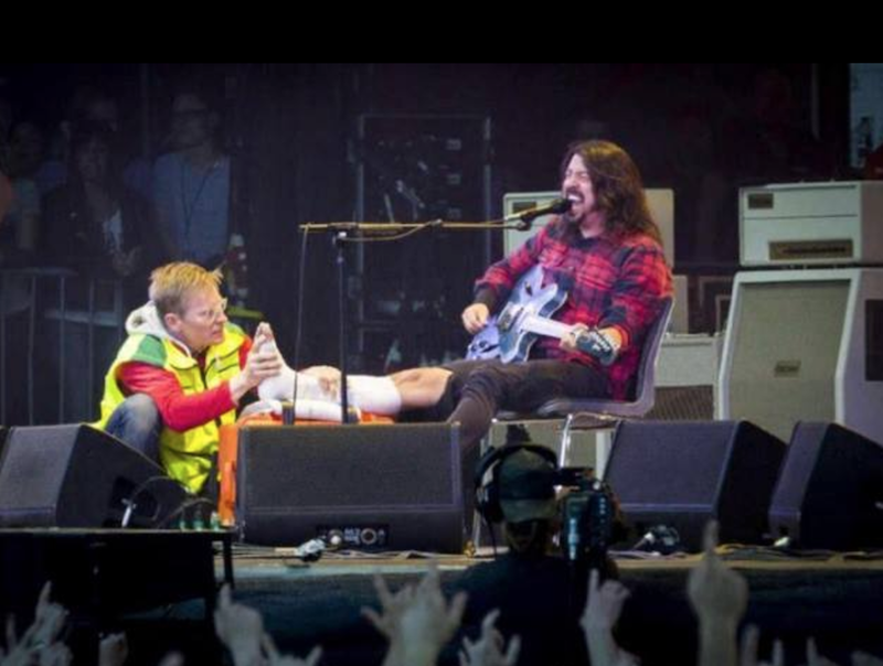 dave grohl broken leg reunion Dave Grohl reunites with the Swedish medic who wrapped his broken leg