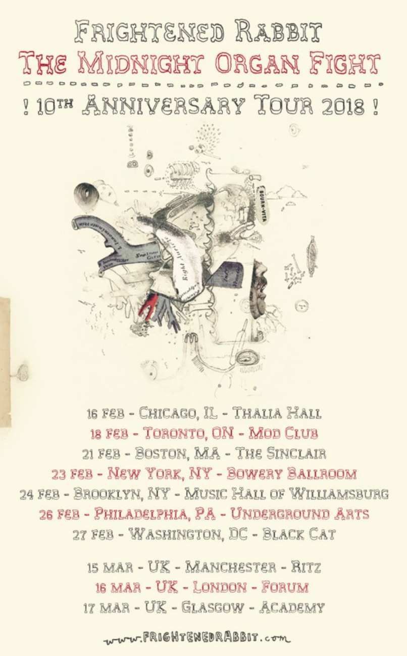 frightened rabbit 10th anniversary tour Frightened Rabbit announce 10th anniversary tour behind The Midnight Organ Fight