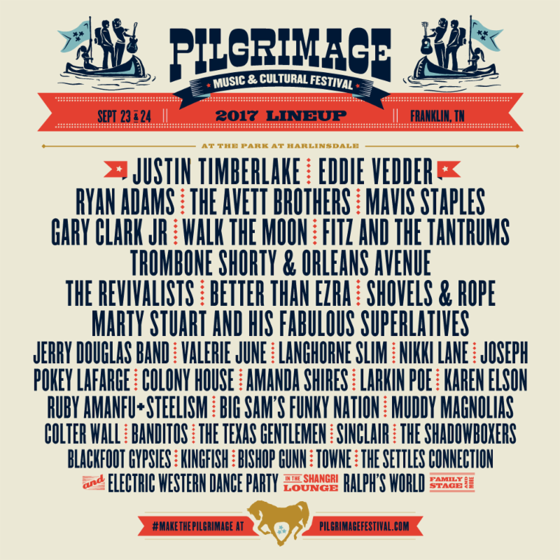 unnamed 3 Justin Timberlake, Eddie Vedder, Ryan Adams to play Pilgrimage Festival 2017
