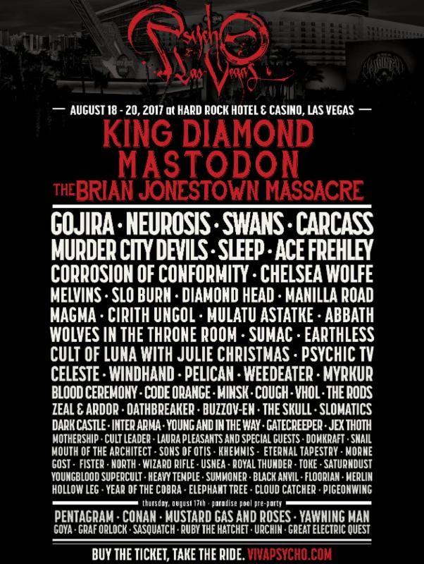 unnamed King Diamond, Mastodon, Gojira, Brian Jonestown Massacre to play Psycho Las Vegas 2017